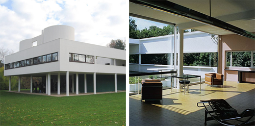 MODERN - Villa Savoye by Le Corbusier | a classic example of large open plan, expansive glass encompassing the building perimeter and a whitewash exterior finish.